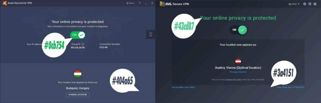 Avast SecureLine VPN vs AVG Secure VPN Joke Interface Comparison 2