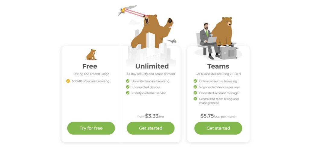 Tunnelbear VPN price